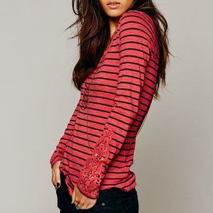 Free People Hard Candy Stripe Embroidered Cuff Top